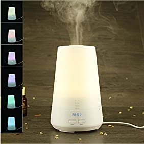 Essential Oil Diffuser 120ml,Aromatherapy Ultrasonic Cool Mist Aroma Humidifier with 7 Color LED Lights Changing and Waterless Auto Shut-off Fuction for Home Office Bedroom Room (Model4)