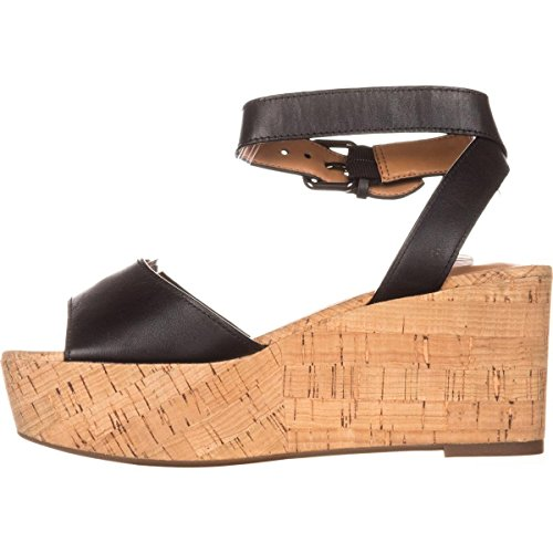 Coach Womens Becka Leather Open Toe Casual Ankle Strap Sandals, Black, Size (Coach Shoes Wedges)