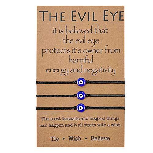Evil Eye Bracelet Black for Women Girls Adjustable Thread Cord Bracelet Hand Woven for Protection Friendship Wish Bracelet for BFF (3Pcs)