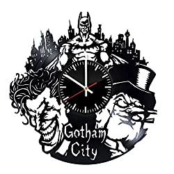 Batman and Joker vinyl clock, vinyl wall clock, vinyl record clock, bruce wayne dark knight superhero dc comics kids room home decor art gift 074 - (a1)