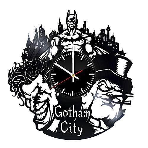 Joker Clock - Batman and Joker vinyl clock, vinyl wall clock, vinyl record clock, bruce wayne dark knight superhero dc comics kids room home decor art gift 074 - (a1)