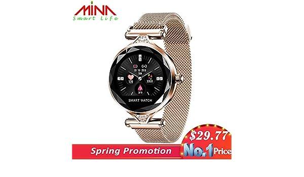 Amazon.com: H1 las Mujeres reloj inteligente Monitor de Ritmo cardíaco rastreador de ejercicios DAMA reloj de pulsera Bluetooth impermeable (Gold): ...