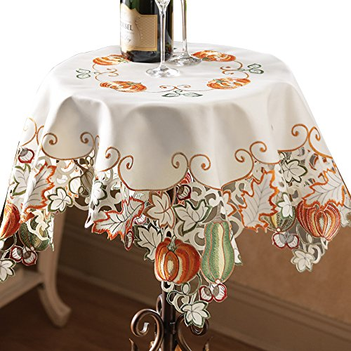 (Collections Etc Die-Cut Autumn Harvest Decorative Table Linens with Scalloped Edges - Accents of Pumpkins, Autumn Leaves, Acorns and Gourds, Square)