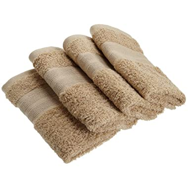 1888 Mills 100-Percent Organic Cotton Oversized Washcloth Set of 4, Earth Brown