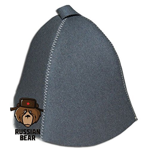 RussianBear  Gray Polished Wool Hat for Sauna Banya Bath House Head Protection Unisex