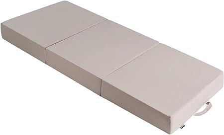 COSTWAY Colchón Plegable Individual de 3 Partes de Espuma con Funda y Asa Extraíbles Colchoneta para Invitados Dormir 195 x 75 x 15 Centímetros