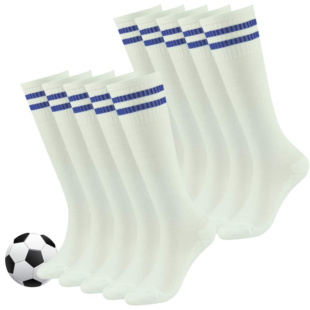 Youth Baseball Socks,Fasoar Kids Teens Cotton Knee High Team Sport Socks Children Football Socks 10 Pack White Blue Stripe by Fasoar