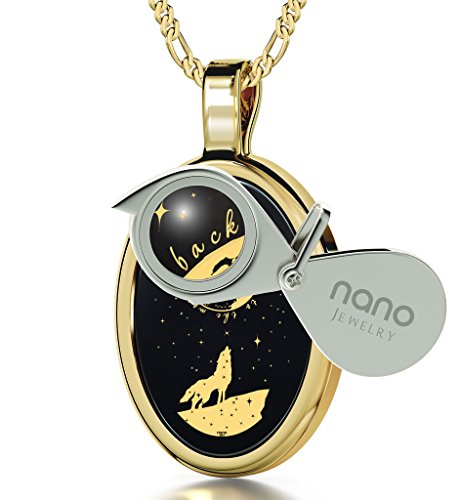 Gold Plated I Love You to the Moon and Back Necklace Wolf Pendant Gold Inscribed Onyx, 18'' Gold Filled by Nano Jewelry (Image #1)