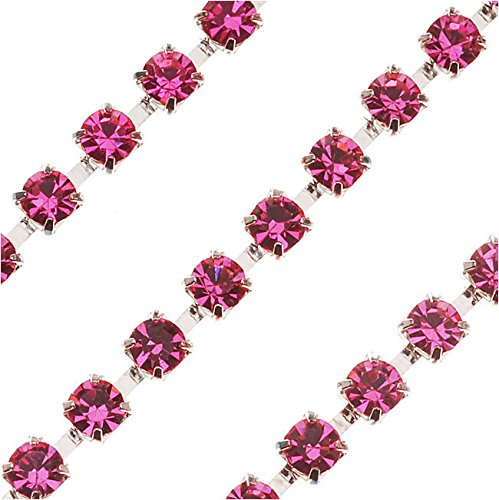 Czech Crystal Silver Plated Rhinestone Cup Chain 24PP Light Rose (By The Foot)