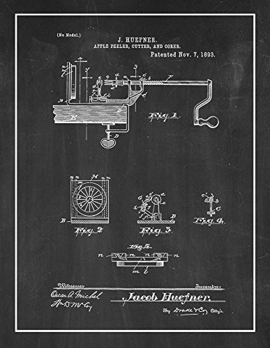 Border Apple Chalkboard - Apple Peeler, Cutter and Corer Patent Print Chalkboard with Border (8.5