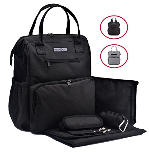 Rascal Gear Black Baby Diaper Bag Backpack, Tote, Shoulder or Cross Body with Insulated Bottle Pockets, Stroller Straps, Changing Pad, Wet Bag; Machine Washable; Waterproof; Multipurpose;