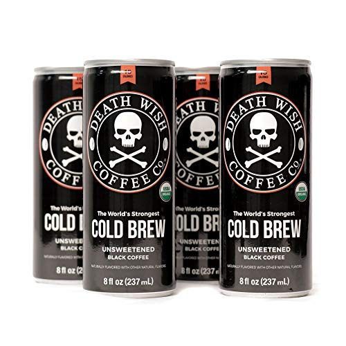 - Death Wish Coffee, Cold Brew Cans, The World's Strongest Coffee, Organic Iced Coffee Drink - 8 Ounces - 300 mg of caffeine - 4 Pack (Unsweetened Black)