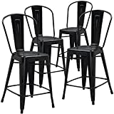 """Flash Furniture High Distressed Metal Indoor Counter Height Stool (4 Pack), 24"""", Black"""