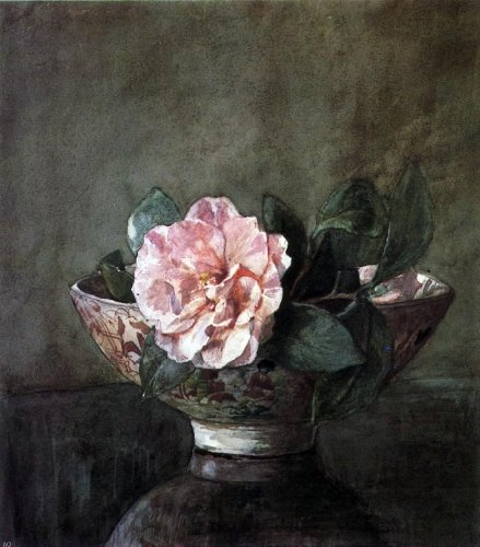John La Farge Camellia in Old Chinese Vase on Black Lacquer Table - 20.05