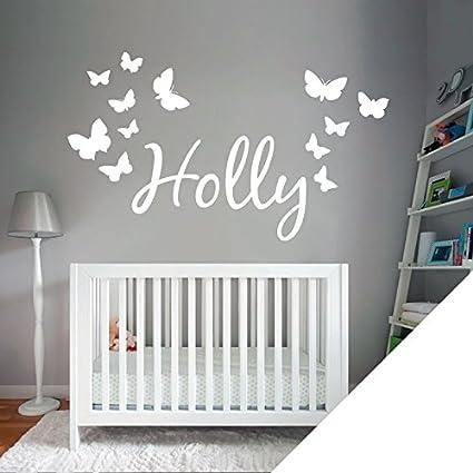 Blanc Nom personnalis/é Texte personnalis/é mur dautocollant dart avec des papillons Il suffit de nous un message avec le nom -