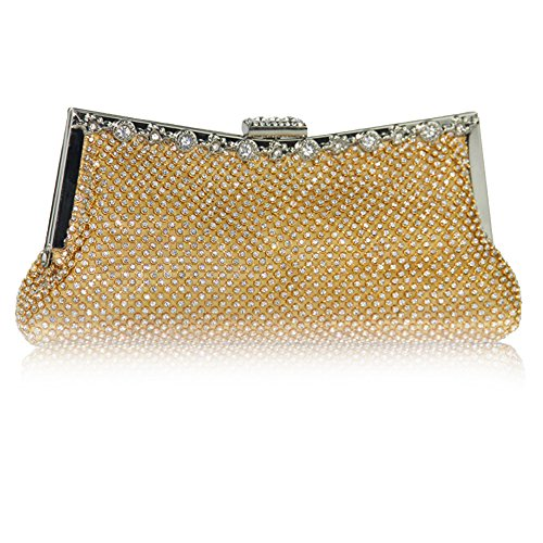 Diamante Clutch Bag Gold Purse Ladies Wedding Bag Evening UNYU Handbag Sparkly Crystal qIEOpA