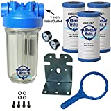 KleenWater Premier Whole House Water Filter System - 1 Inch Inlet/Outlet - Transparent Housing - 20 GPM with Bracket, Wrench and Three Dirt Sediment Cartridges