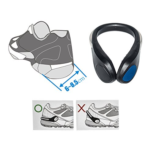 TEQIN Black Shell Blue LED Flash Shoe Safety Clip Lights for Runners & Night Running Gear - Reflective Running Gear for Running, Jogging, Walking, Spinning or Biking + Velvet Bag - (Set of 2) by TEQIN (Image #3)