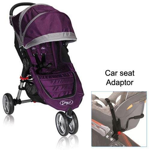 Baby Jogger City Mini Stroller in Purple with a Car Seat Adapter