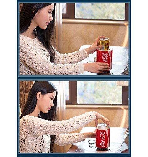 KEMIN USB Fridge Cooler Mini Fridge Use USB Cooler Cup Coffee Tea Car Refrigerator Office Cooler (Red) by KEMIN (Image #4)