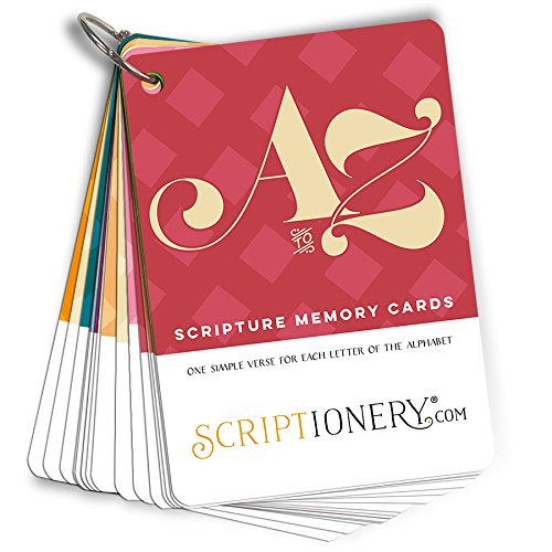 ABC Scripture Memory and Devotional - 1 Simple Bible Verse Flash Card for Each Letter of the Alphabet - Easter Basket Stuffers -