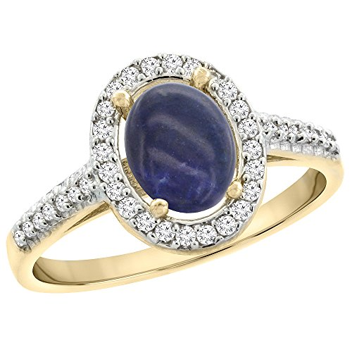 14K Yellow Gold Natural Lapis Engagement Ring Oval 7x5 mm Diamond Halo, size 10 14k Yellow Gold Lapis Ring