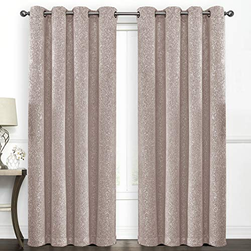 SUO AI TEXTILE Blackout Curtains Room Darkening Drapes Suede Like Pink Print Darkening Thermal Insulated Grommet Window Curtain,52 by 84 Inch,2 Panels