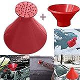 Outsta Scrape A Round Ice Scraper, Snow Scraper for car Windshield Snow Shovel Tool Snow Shovel Brush Scrape,Ice Removal Wiper Round Magic Cone-Shaped Plastic Snow Remover (Red(A Set/3PC))
