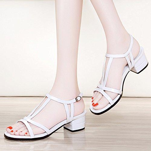 SHOESHAOGE La Sra. Gruesas Con Zapatos De Tacón Alto, Sandalias Mujer Con Correa De Sujeción Ranurada Zapatos De Mujer ,Eu40 EU38