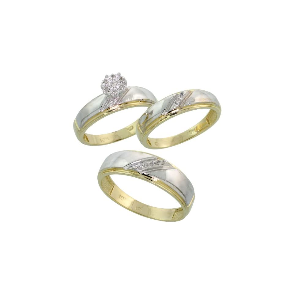 10k Yellow Gold Diamond Trio Engagement Wedding Ring Set for Him and Her 3 piece 7 mm & 5.5 mm wide 0.09 cttw Brilliant Cut, Ladies Size 8