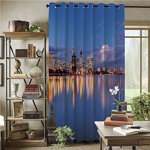 Patio Sliding Door Curtain,Skyline of Perth Western Australia at Night Dramatic Urban Swan River Scenery Decorative,72x108inch,Wide Blackout Curtains,Violet Blue Amber (Furniture Patio Perth)