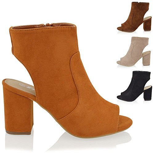 Essex Glam Women's Mid Block Heel Peep Toe Shoes Ankle Boots
