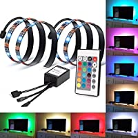 HONG111 [2 Pack] RGB Led Light Strip Waterproof TV Bias Backlight with Remote Control for Flat Screen TV Background Lighting, Desktop PC and HDTV