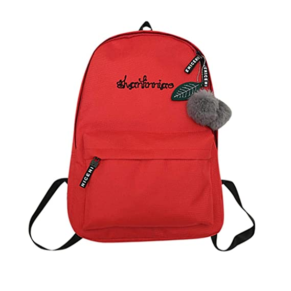 Review Outsta Unisex Preppy Shoulder Solid Bookbags School Travel Backpack Bag Basic Water Resistant Casual Daypack Travel (Red)