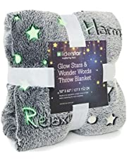"""LIDERSTAR Glow in The Dark Throw Blanket 50"""" x 60'' Super Soft Polyester Flannel Fleece, Decorated with Stars and Words of Encouragement, Wrap Your Loved One in Positivity for Adults and Kids"""
