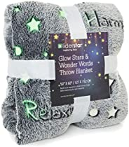 Glow in The Dark Throw Blanket ,Super Soft Fuzzy Fluffy Plush Fleece,Decorated with Stars and Words of Healing
