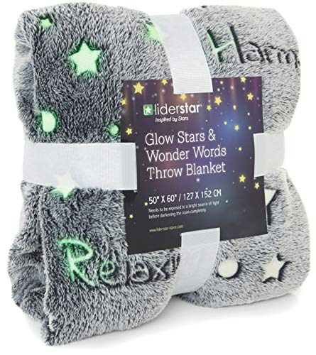 "LIDERSTAR Glow in The Dark Throw Blanket 50"" x 60'' Super Soft Polyester Fleece,Decorated with Night Stars and Words of Encouragement,Wrap Your Loved One in Positivity for Adults and Kids– Grey"