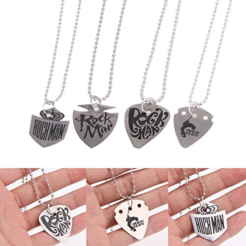 Car accessories - 4Pcs/Lot 60CM Stainless Steel Guitar Pick Necklace Chain Silver Guitar Parts 0.5MM Thickness Musical Stringed Instruments 28g (Oakland Raiders Guitar Picks)