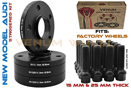 (4) 5x112 Audi Black Hubcentric Wheel Spacers Staggered Set 15 MM & 25 MM with Black Ball Seat Extended Lug Bolts 09-2019 A4 A5 A6 A7 A8 All Road S4 S5 S6 S7 RS5 RS7 Q5 SQ5 for Factory Wheels ()