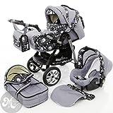 Milk Rock Baby Starcruiser Kinderwagen Komplettset (Autositz, Regenschutz, Moskitonetz, Getränkehalter, Wickelunterlage) 03 Stone & Soft Rock