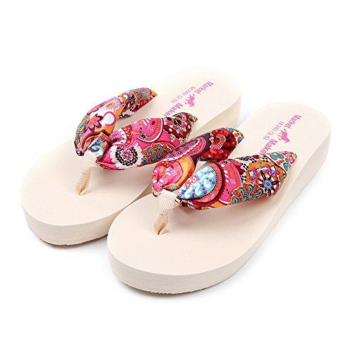 Vertvie Damen Flip-Flops Mittlerer Absatz Strand Schuhe Böhmen Design Sommer Sandalen Rutschfest Hausschuhe Beige