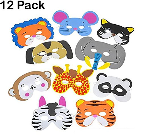 Kidsco - 12 Assorted Foam Funny Animal Mask - For Kids & All Ages, Party, Halloween, Dress-Up, Prop, Costume With Elastic Strap