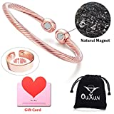Magnetic Copper Bracelets for Men Women for Arthritis Pain Relief Adjustable Magnetic Therapy Copper Bangle Bracelet and Ring Set Charms Cuff with Magnets Copper Healing Weight Loss (Rose Gold)