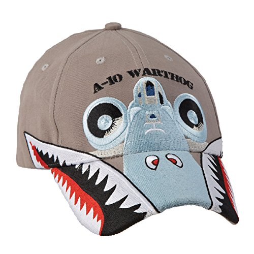 Hat Embroidered Wright - Sporty's Adjustable A-10 Warthog Embroidered Cap Hat Light Gray