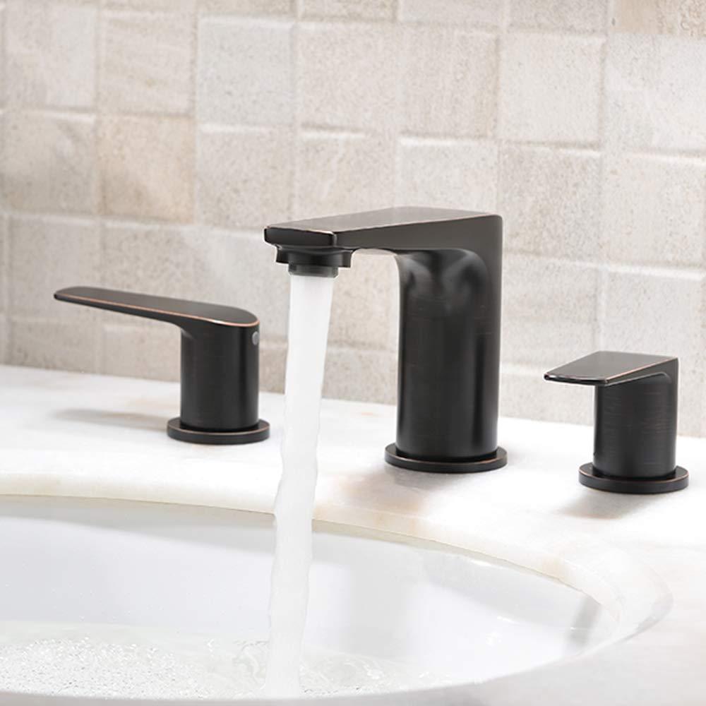 Bronze Widespread Bathroom Faucet HLBLFY Commercial Brass 3 Hole 2-Handle Oil Rubbed Bronze Bathroom Sink Faucet