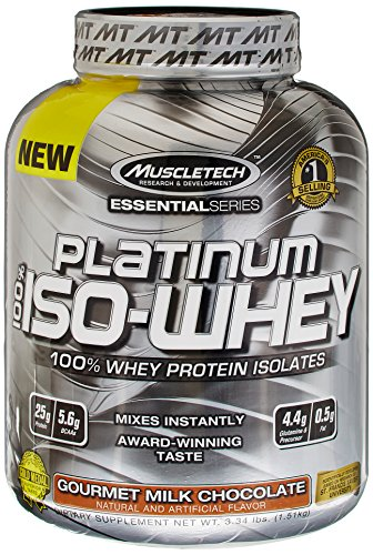 MuscleTech Platinum 100% ISO Whey, 100% Whey Protein Isolates Powder, Gourmet Milk Chocolate, 3.34 lbs (1.51kg) ()