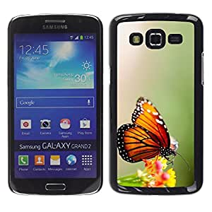 LECELL--Funda protectora / Cubierta / Piel For Samsung Galaxy Grand 2 SM-G7102 SM-G7105 -- Wings Butterfly Flower Green --