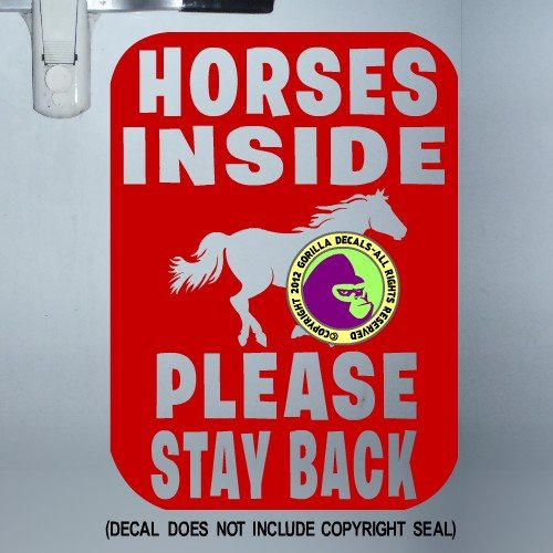 The Gorilla Farm Square Horses Inside Please Stay Back Tailgate Running Horse Large Trailer Sign Caution Vinyl Decal Sticker Sign RED