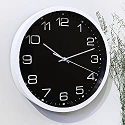 Time Vanguard 12 Silent Non-ticking Wall Clock Decorative,Battrey Operated Quartz Analog Quiet Wall Clock,For Living Room,Kitchen,Bedroom,Office or Garage-Black,Easy to Install