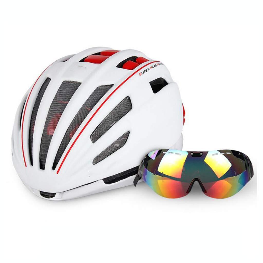 ヘルメット 自転車ヘルメット、自転車ヘルメットロードマウンテンバイク安全キャップ調節可能な軽量大人用スポーツヘルメットゴーグル#1  白 B07PYQ5XQG